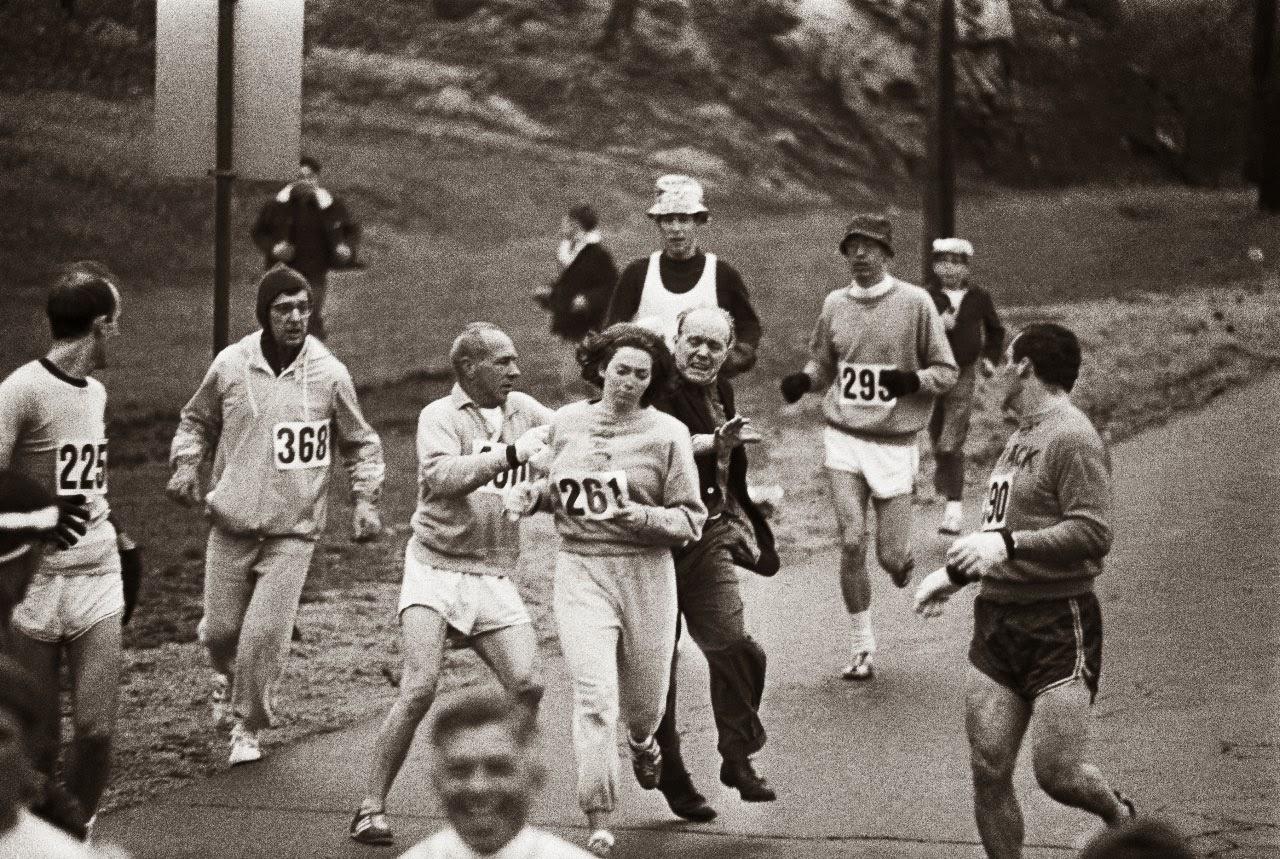 The first woman to run the Boston marathon, 1967