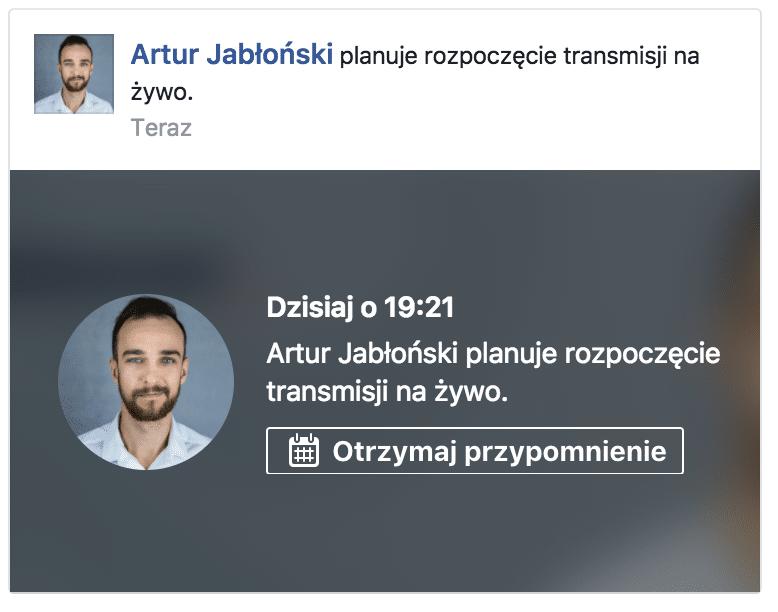 planowana transmisja live facebook