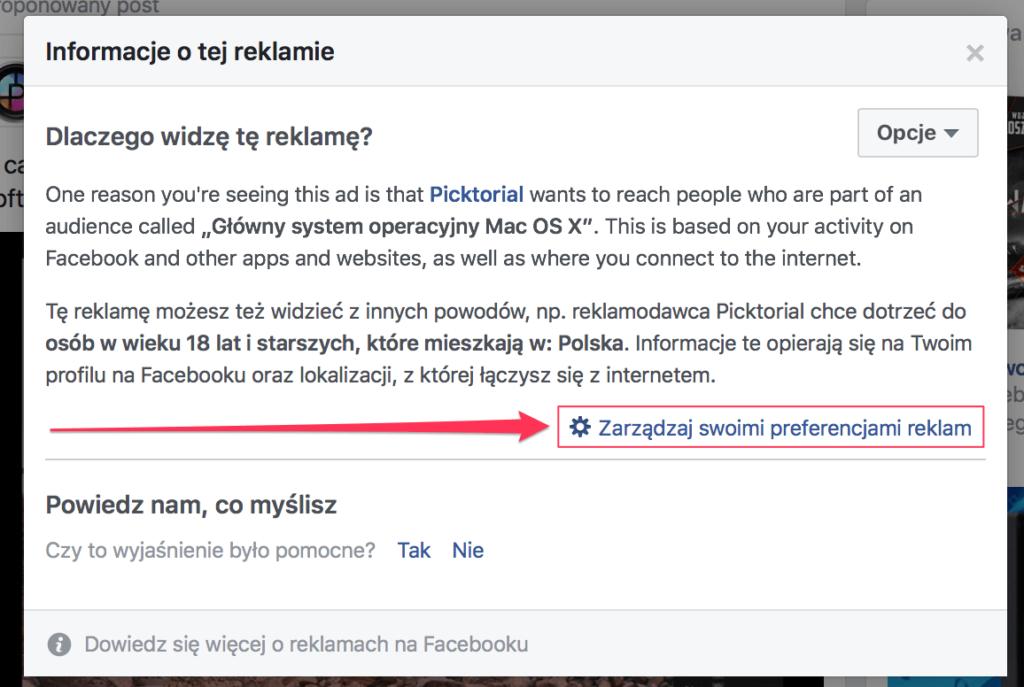 preferencje reklamowe na facebooku