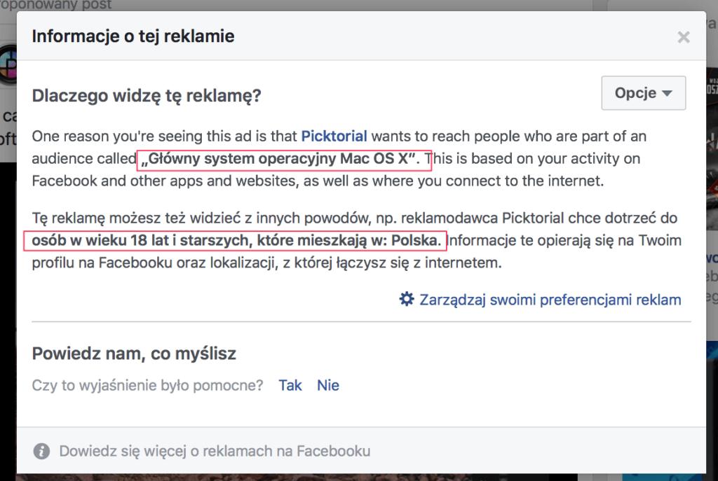 reklama konkurencji facebook