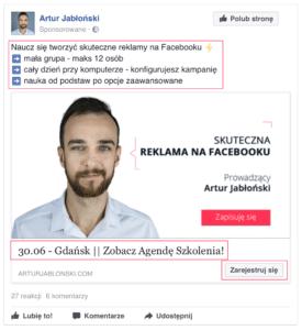 Tytuł, opis, cta – reklama na Facebooku