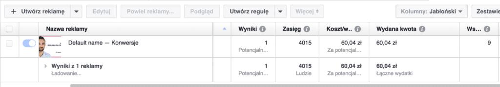 wskaźnik trafności facebook