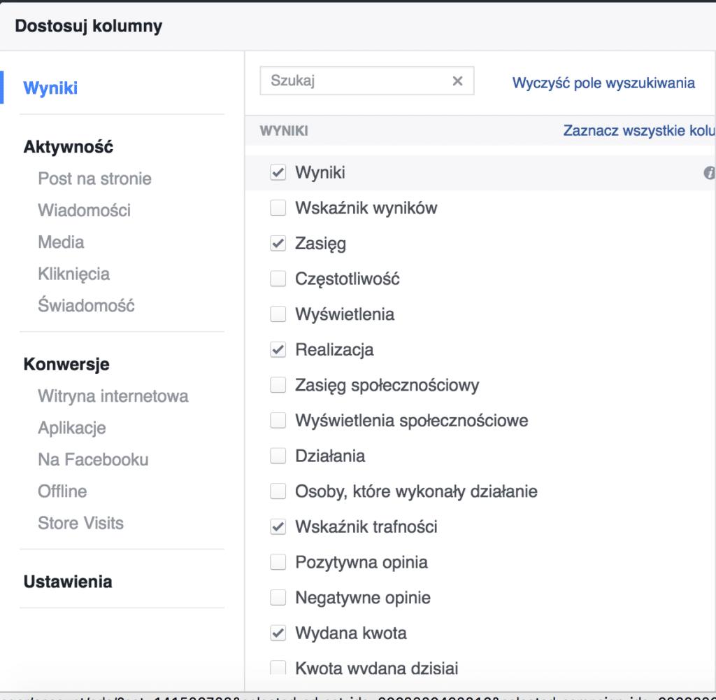 facebook dostosuj kolumny