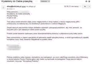 Mail od sprzedawcy na Allegro