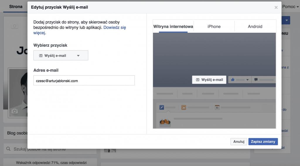 Wezwanie do działania na facebookowym fanpage'u