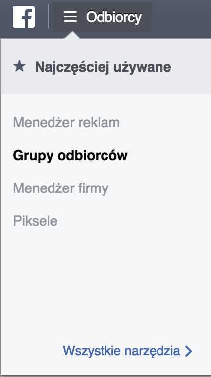 menadżer reklam facebooka menu