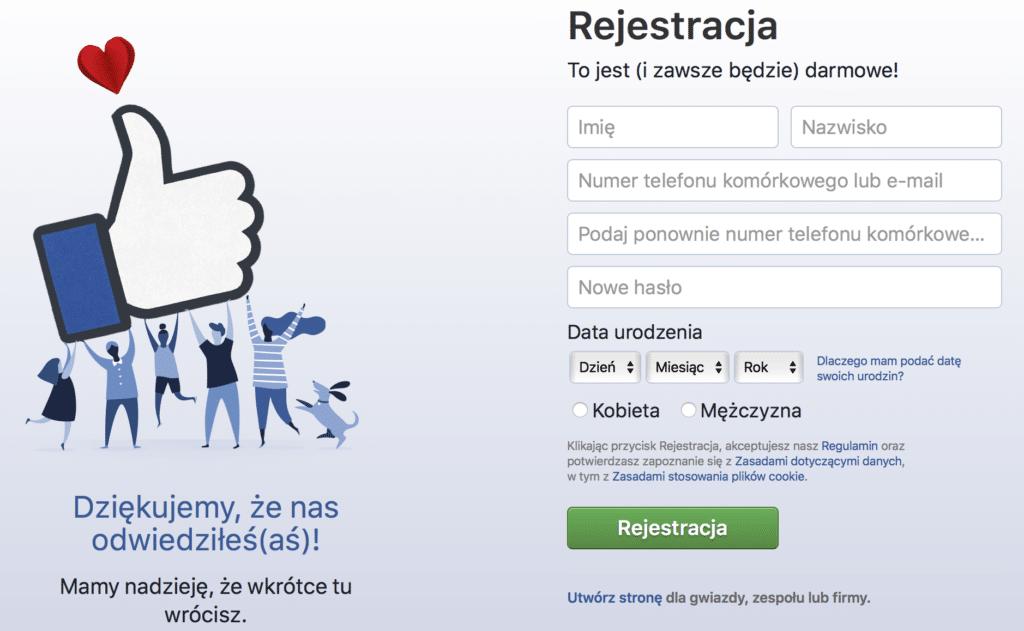 rejestacja na facebooku