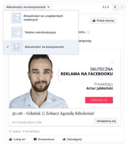 Widoki reklamy FB na różnych urządzeniach