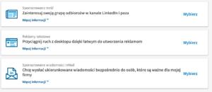 rodzaje reklamy linkedin