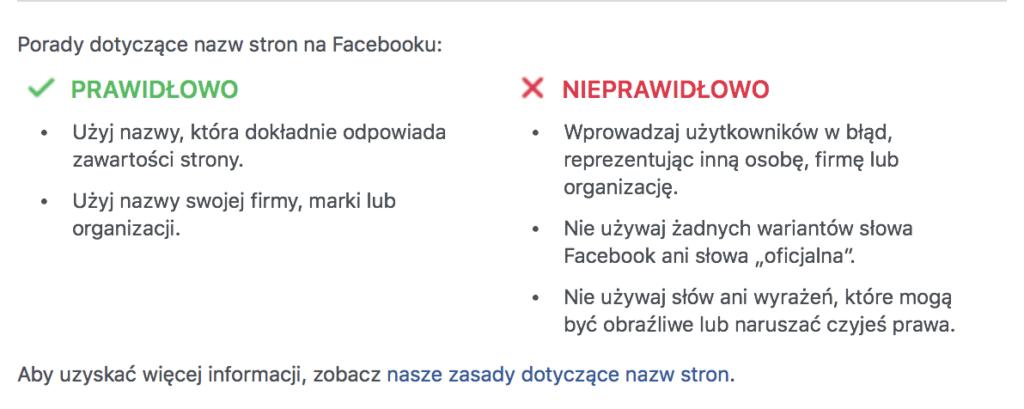 wytyczne facebooka dla nazw stron