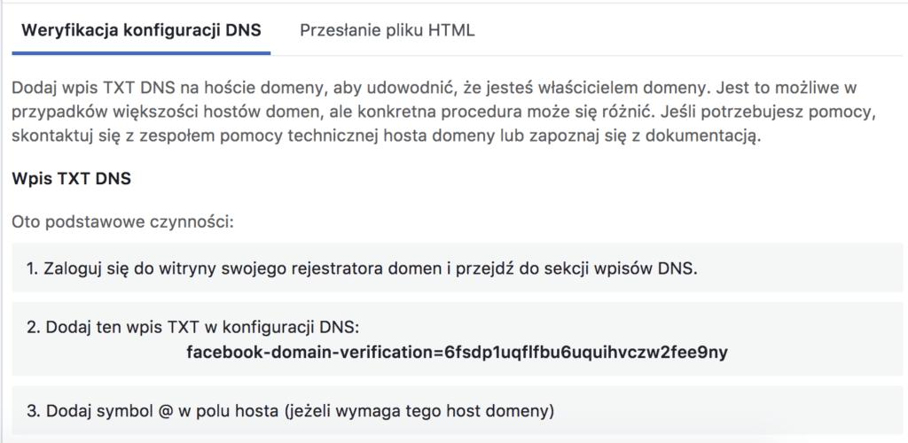 instrukcja weryfikacji domeny