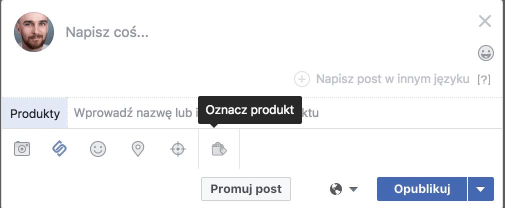 oznaczanie produktow na facebooku
