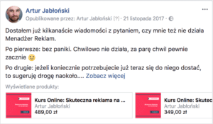 sklep na facebooku post