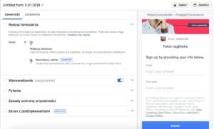 tworzenie formularza facebook