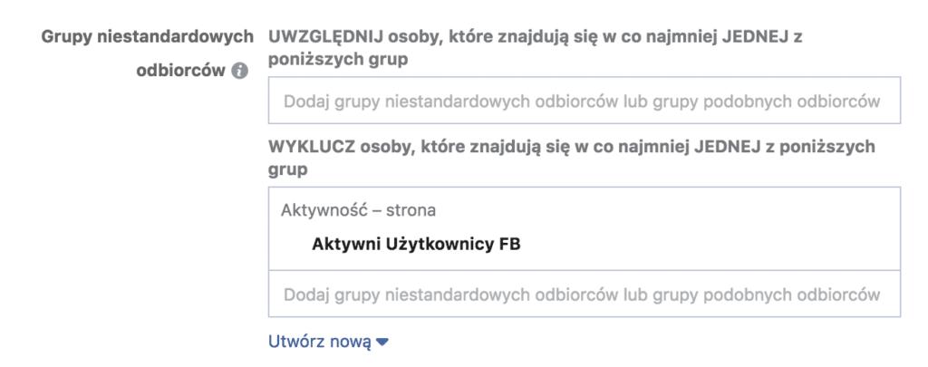 wykluczanie grup odbiorców facebook