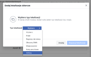 kierowanie reklam na facebooku po adresie