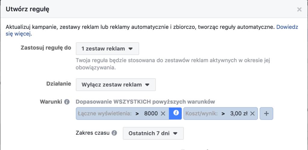 optymalizacja reklam na faceboku za pomocą reguł