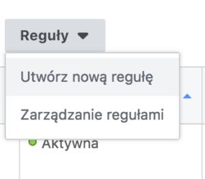 tworzenie reguły automatycznej na facebooku