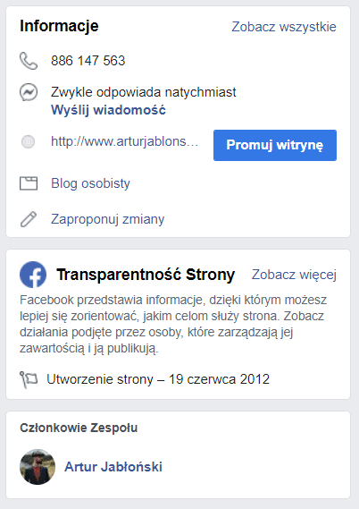 transparentność strony