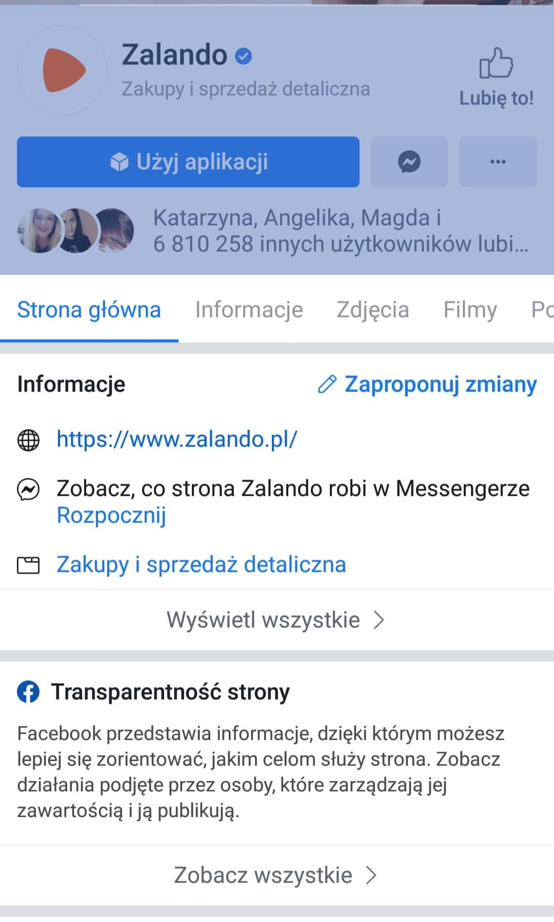 transparentność strony - reklamy konkurencji