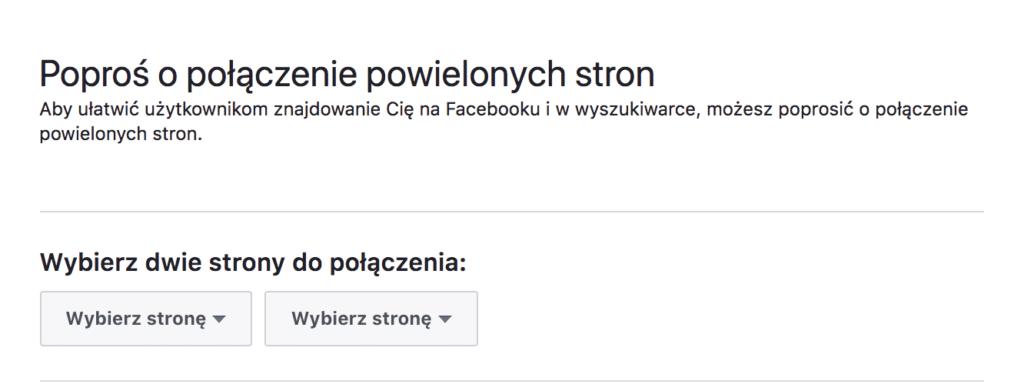 łączenie fanpage na facebooku instrukcja