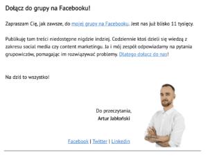 promowanie grupy na facebooku w newsletterze
