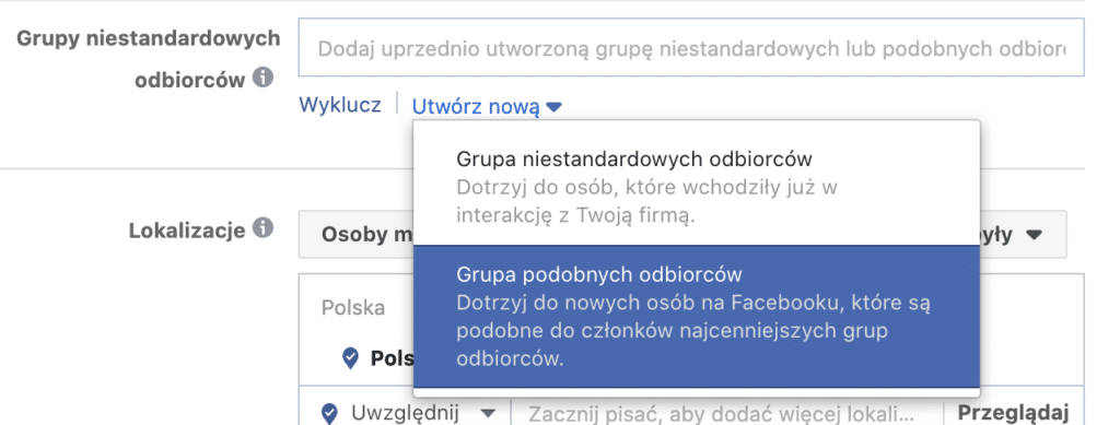 tworzenie grupy podobnych odbiorców na Facebooku