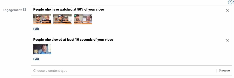 Facebook video custom audiences