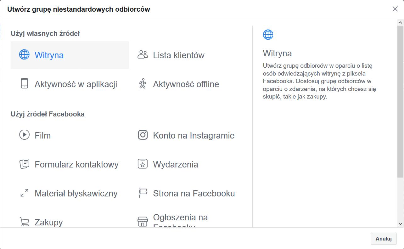 Facebook odbiorcy czas