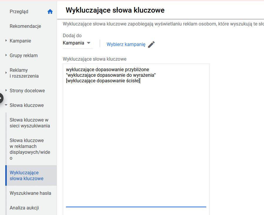 wykluczajace-slowa-kluczowe-google-ads