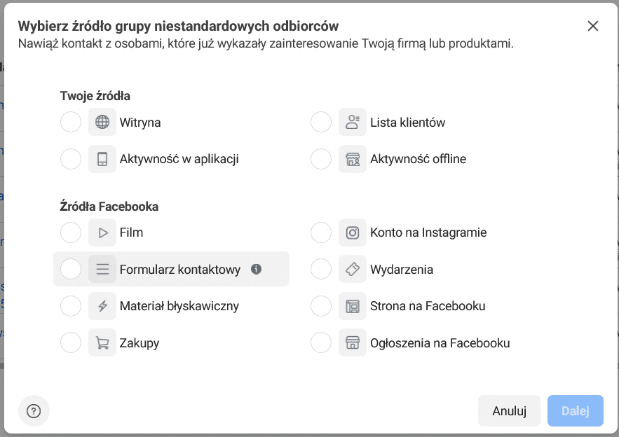Wybór źródła grupy niestandardowych odbiorców Facebook