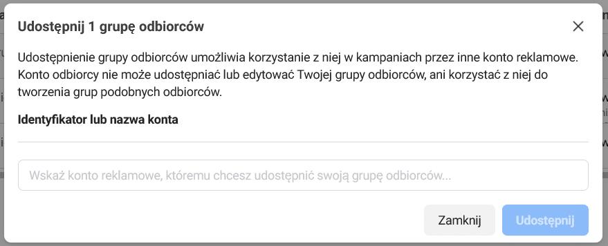 Udostępnienie grupy odbiorców Facebook