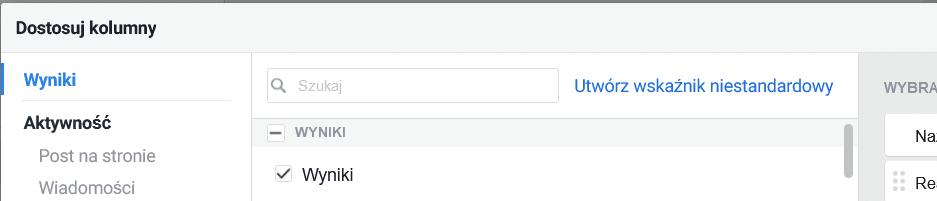 Wskaźnik niestandardowy menadżer reklam Facebook
